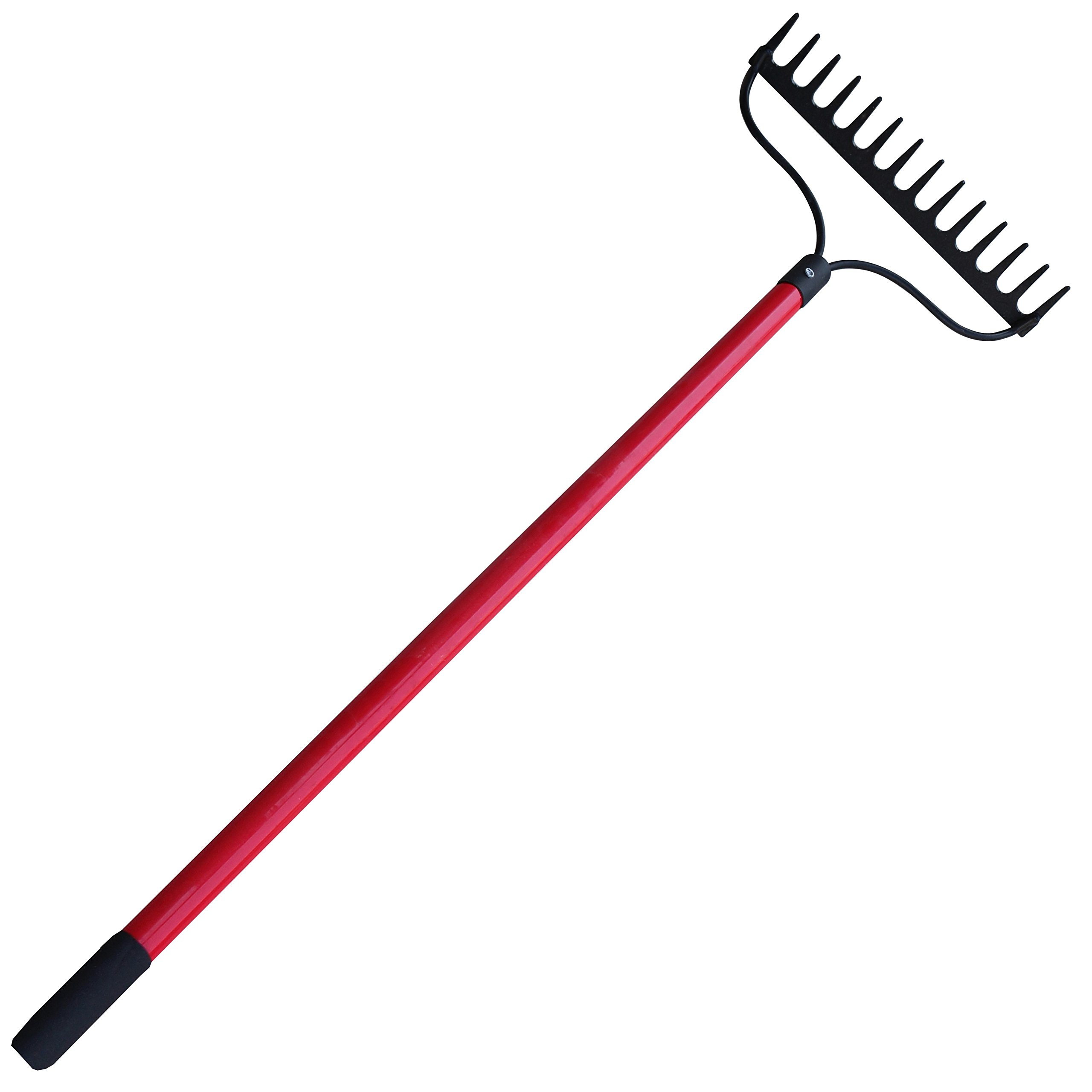 TABOR TOOLS J205 Level Head Rake With Strong Long 54'' Fiberglass Handle, 14-Tine