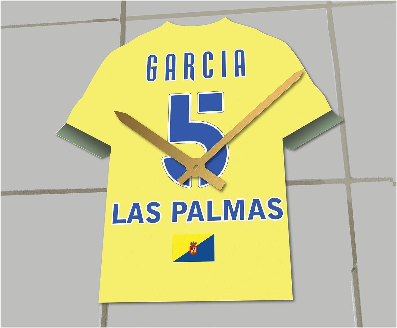 Reloj de camisa de fútbol primera la liga, Fútbol español, personalizable, UD Las Palmas Football Shirt clock: Amazon.es: Deportes y aire libre