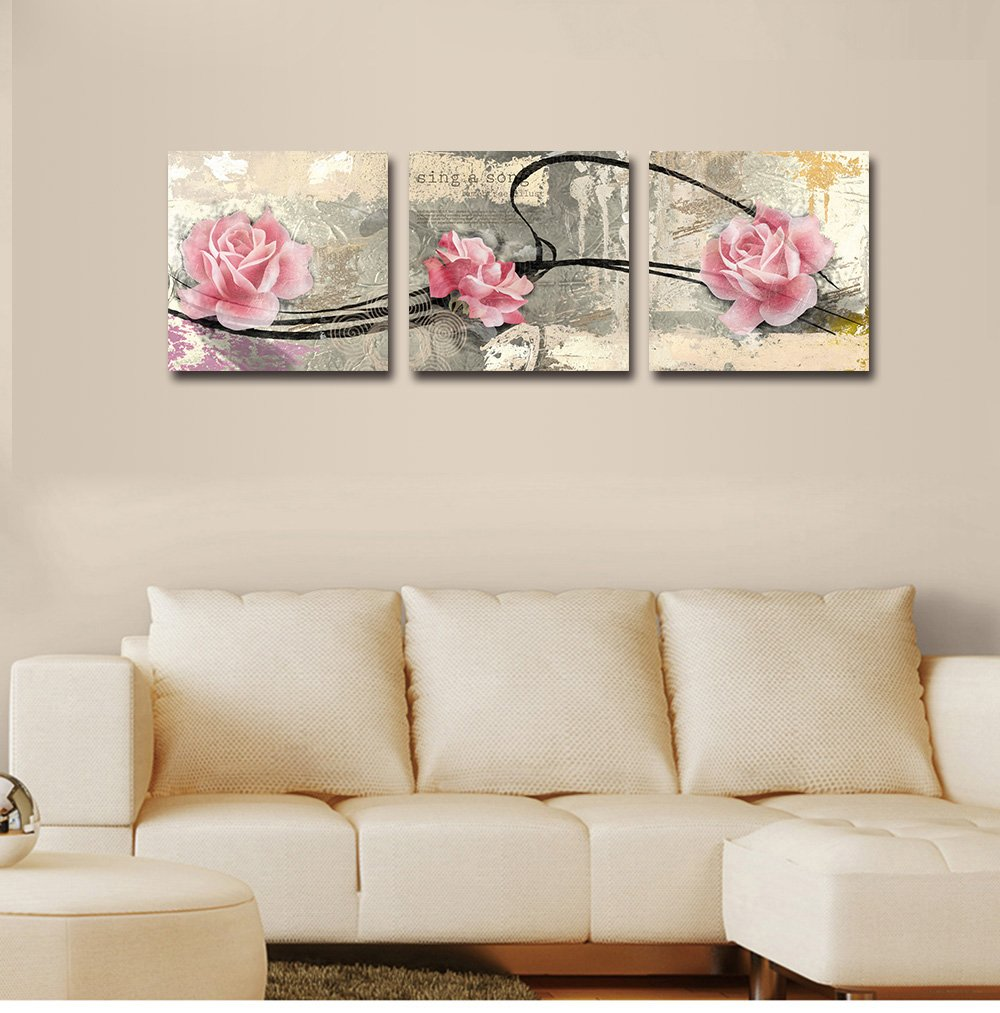 Mon Art Gorgeous Blossom Flower Rose Painting Canvas Print Wall Art Pink Flowers Red Lilies Floral Pictures Pure Fresh Romantic Home Decor Framed Artwork for Girls Living Room Bedroom Decoration 3Pcs