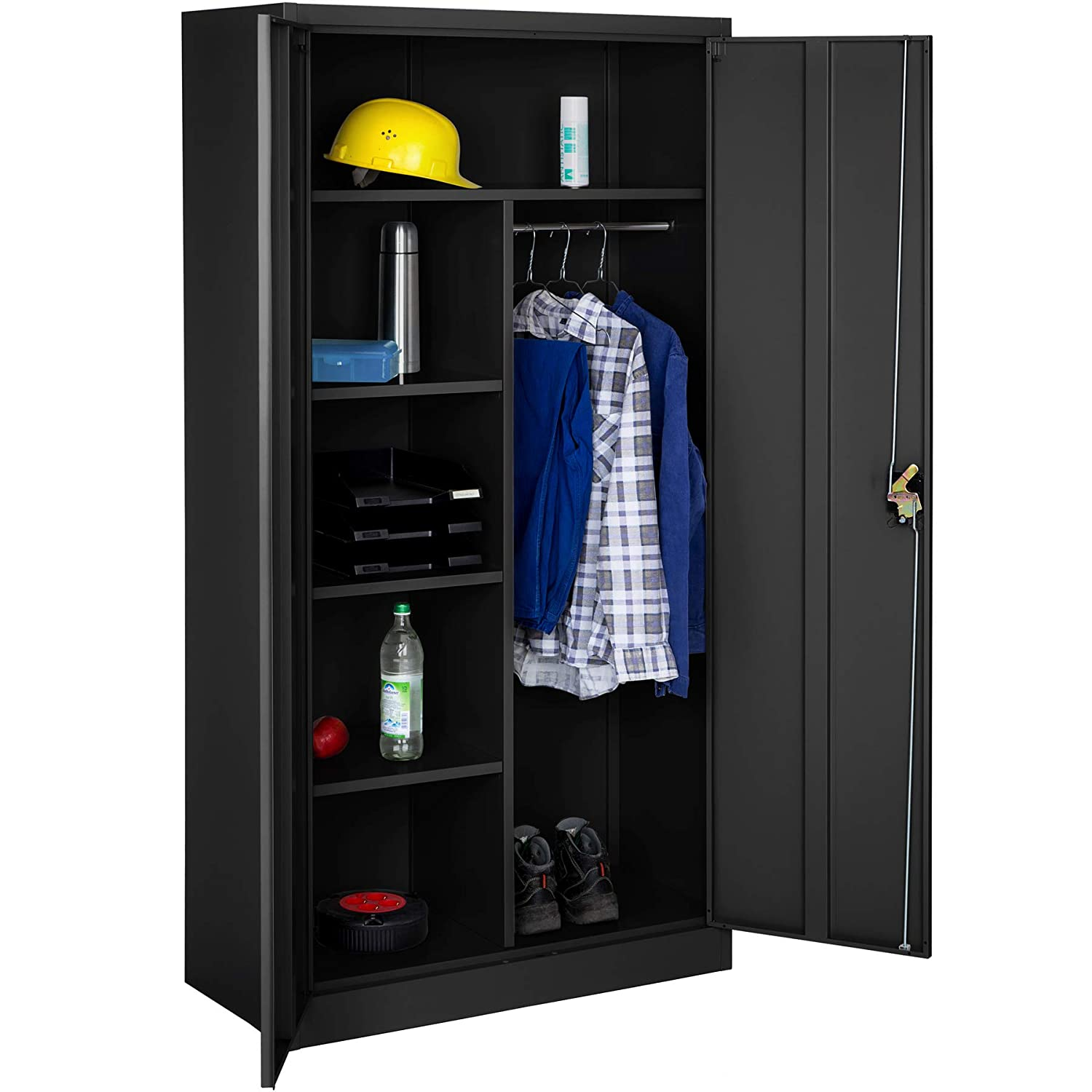 TecTake 402940 Office Storage Cupboard Metal with 4 Shelves and Rail | 2 doors + lock system | 180x90x40cm | Black