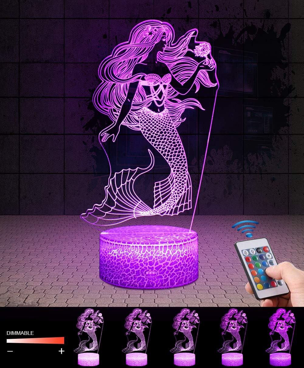 LED Lámpara de Mesa 3D Sirena con Control Remoto Sensor Tacto, QiLiTd Regulable Lámpara de Noche de Atmósfera Modo RGB, Decoracion Cumpleaños, Navidad Regalos de Mujer Bebes Hombre Niños Amigas