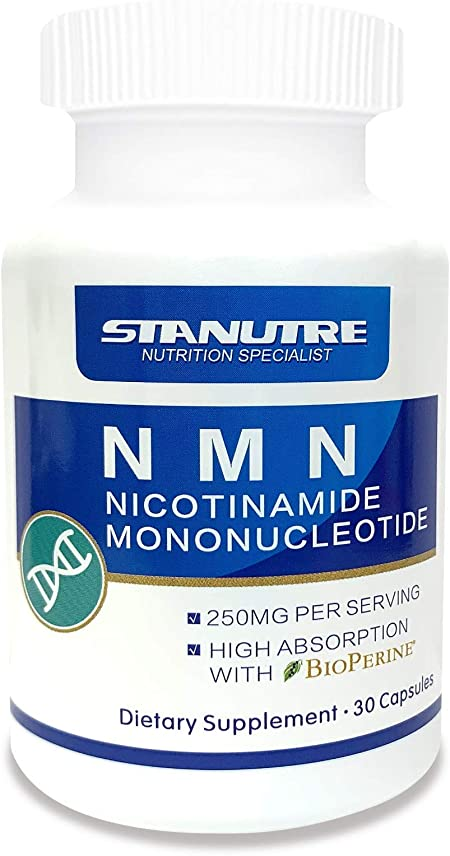 Stanutre NMN Supplement, Nicotinamide Mononucleotide 125mg Capsules,Special Formulas Contains 5 mg Bioperine for Better Absorption,Anti Aging,Boost NAD+ Levels (30 Count)