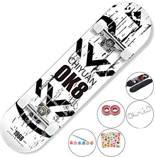 Amazon Com Dapang Skateboard Complete 7 Layer Maple Wood Concave Skateboard For Perfecting Your Ollie And Kickflip Learn Practice And Land Tricks In No Time 10 Home Kitchen
