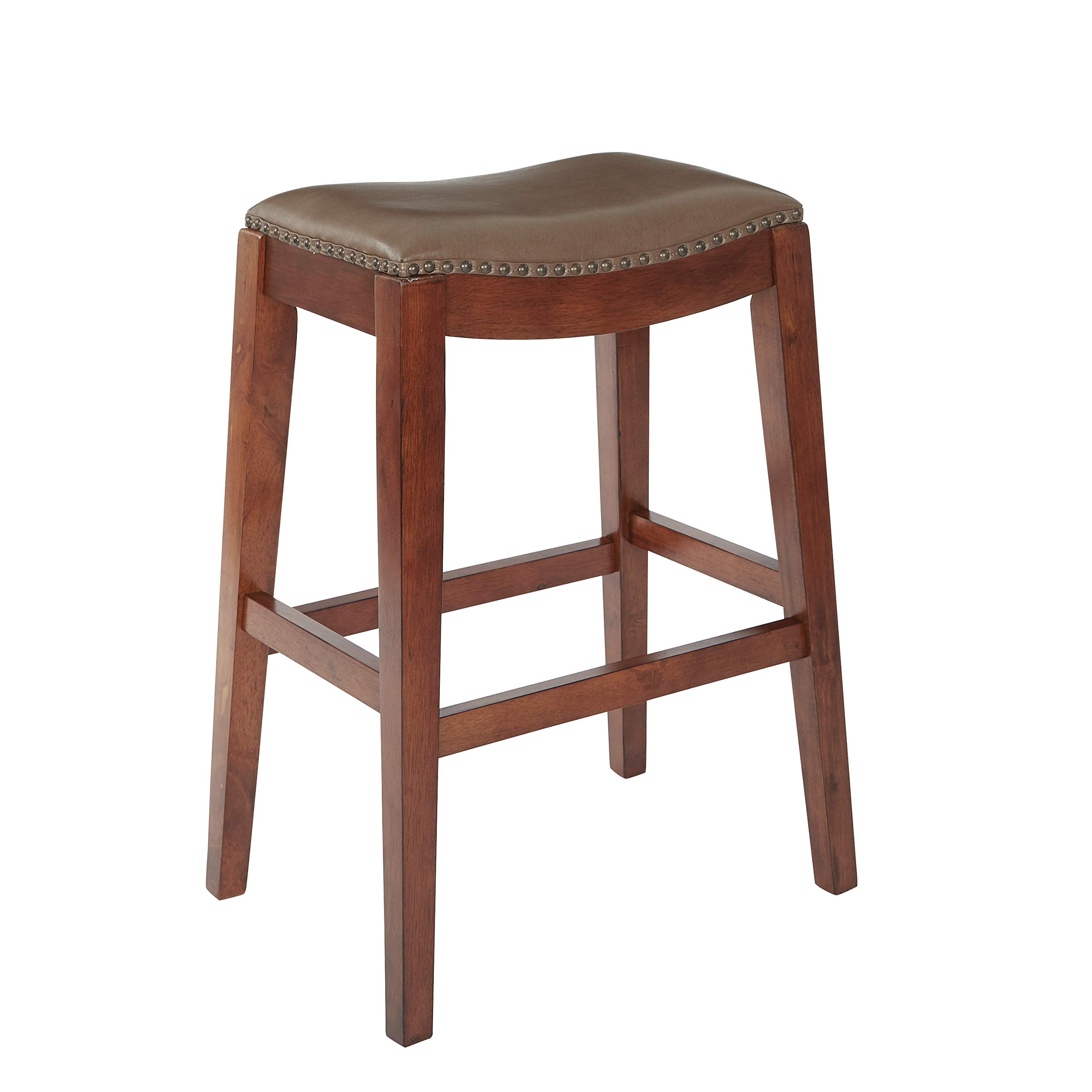 OSP Designs Metro Bonded Leather Bar-Height Saddle Stool with Nail Head Accents and Espresso Finished Legs, 29-Inch, Molasses