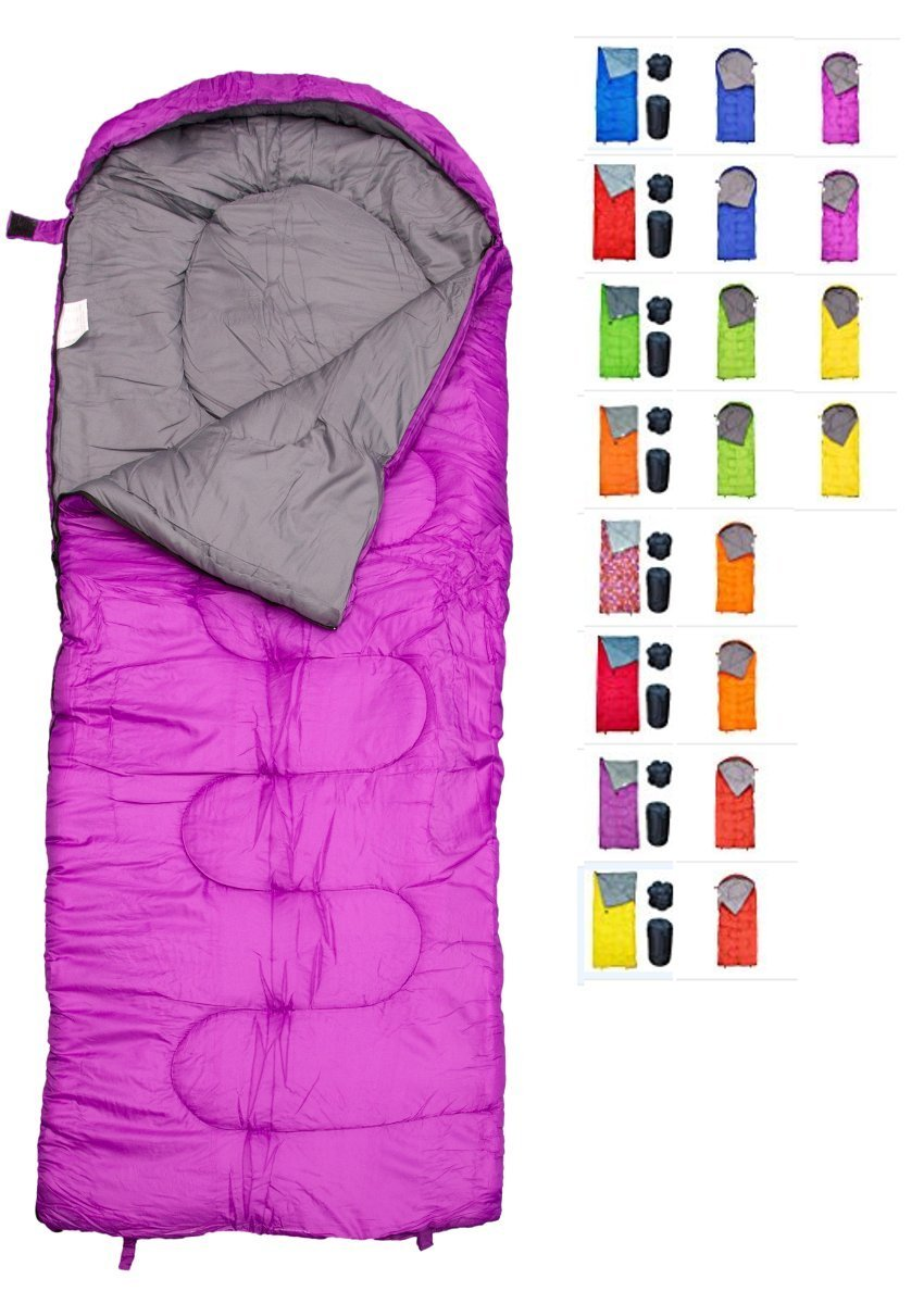 REVALCAMP Sleeping Bag Indoor & Outdoor Use. Great for Kids, Boys, Girls, Teens & Adults. Ultralight and Compact Bags are Perfect for Hiking, Backpacking & Camping (Violet - Envelope Right Zip) by REVALCAMP