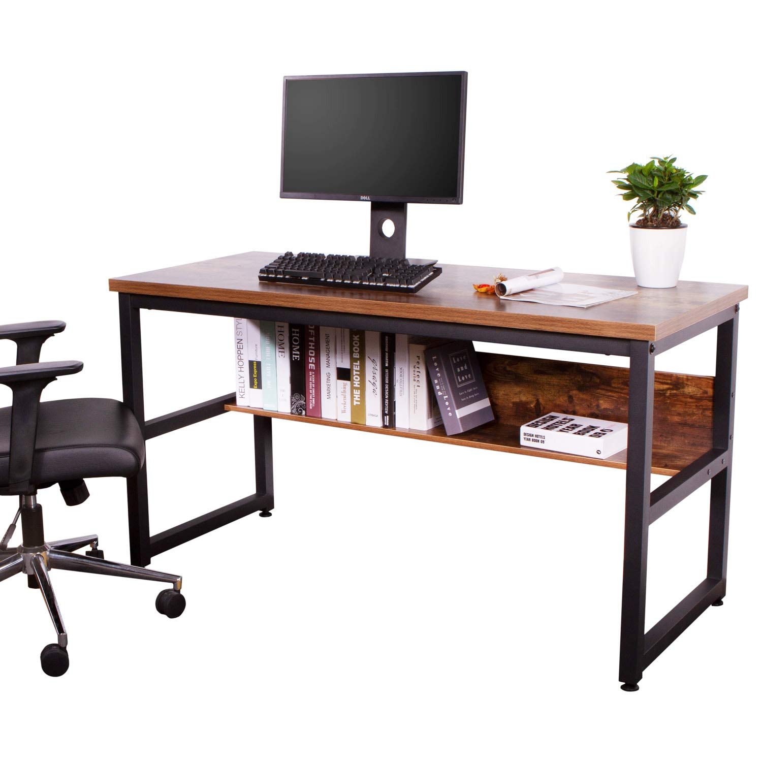 IRONCK Computer Desk 55'' with Bookshelf, Office Desk, Writing Desk, Wood and Metal Frame, Industrial Style, Study Table Workstation for Home Office Furniture by IRONCK (Image #6)