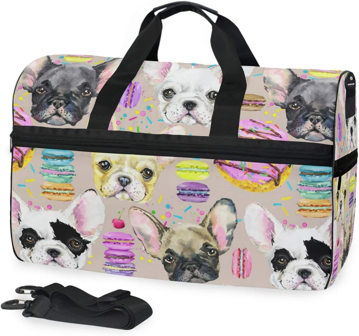 Senya Colorful Funny Puppy Dog Sports Gym Duffel Bag Travel Luggage Handbag Shoulder Bag with Shoes Compartment for Men Women