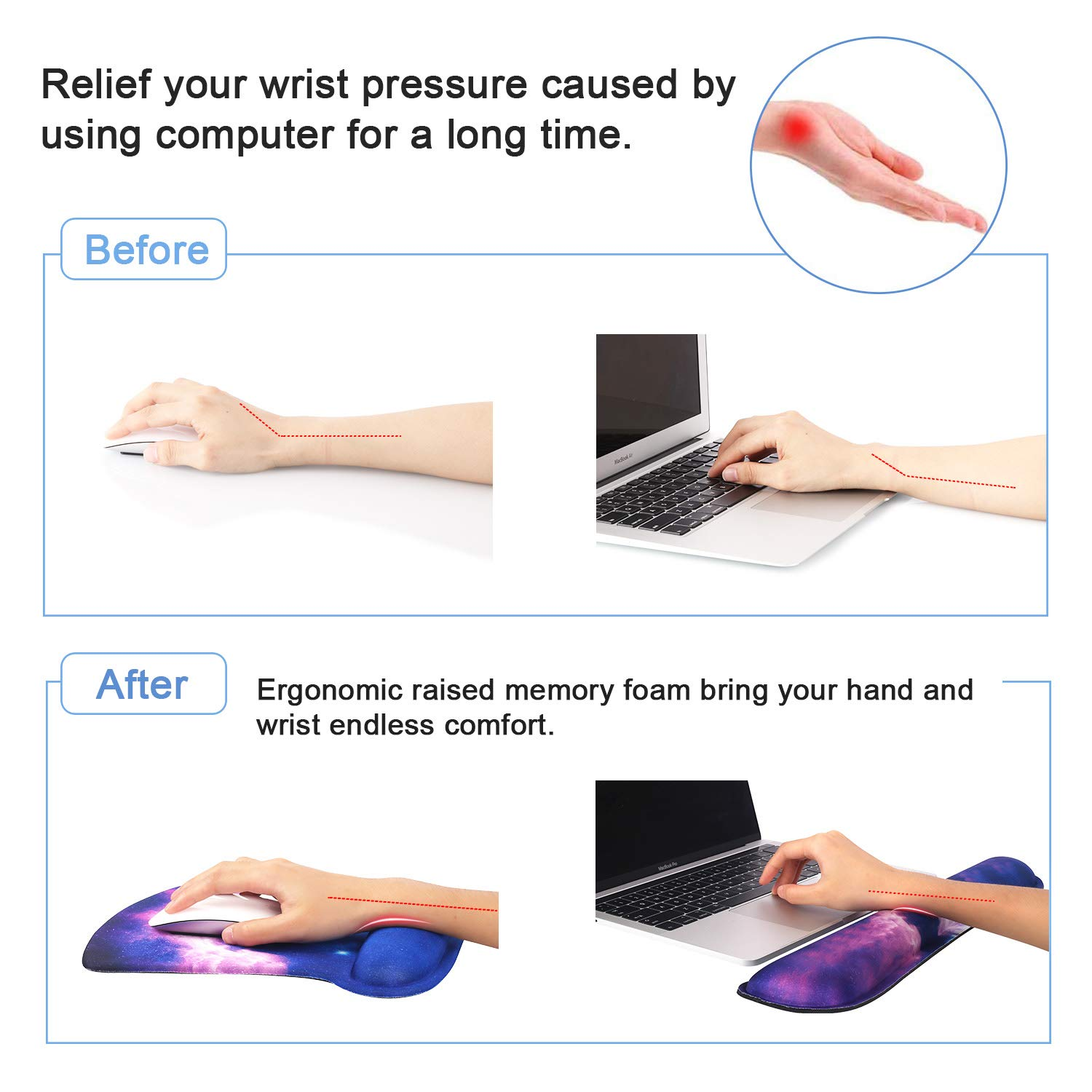 Durable /& Comfortable /& Lightweight For Easy Typing /& Pain Relief-Ergonomic Support,Eiffel Tower iCasso Keyboard Wrist Rest Pad and Mouse Wrist Rest Support Mouse Pad Set