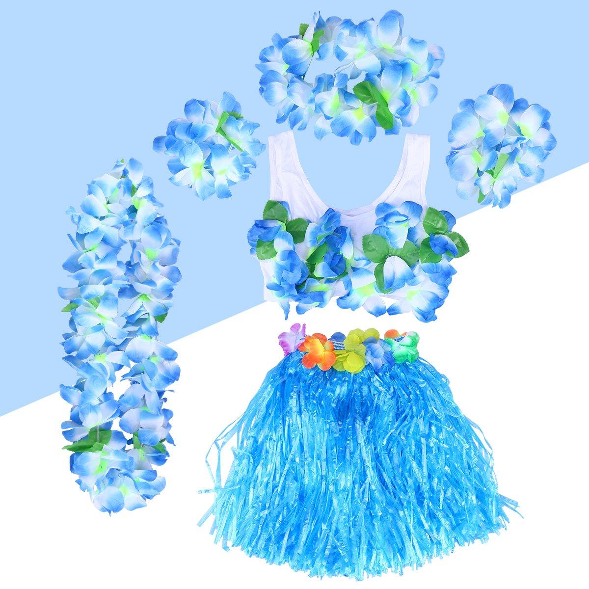 BESTOYARD 6pcs Costume Hawa/ïen Jupe Hula avec Fleurs Multicolores Bracelets Couvre-Chef Soutien-Gorge Colier 40cm Bleu