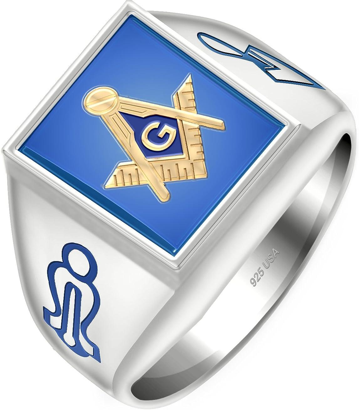 New Men/'s Two-Tone Masonic Scottish Rite Customizable Solid Back Ring