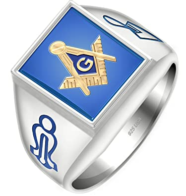 e181b7d1f US Jewels And Gems Solid Back Men's Two Tone 0.925 Sterling Silver or Gold  Plated Vermeil Blue Stone Blue Lodge Masonic Ring Amazon.com