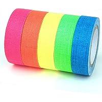 JZK 6 rollen fluorescerende neon Gaffer Tape gloed onder blacklight of UV-licht, mat doek zelfklevende kleurcode tape…