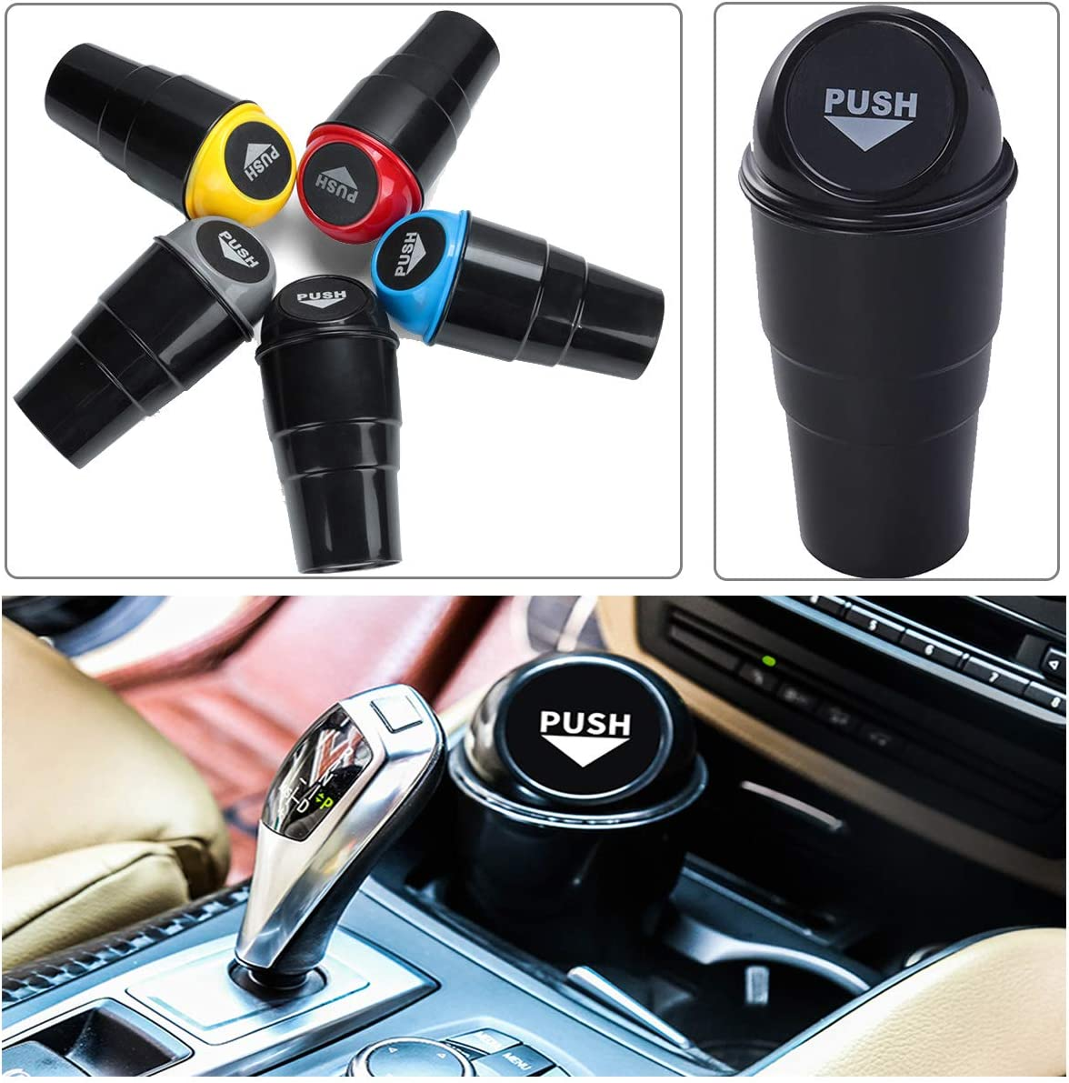 Entomy Portable Mini Vehicle Car Garbage Can Black Office Home and Vehicle Car Auto Garbage Trash Can