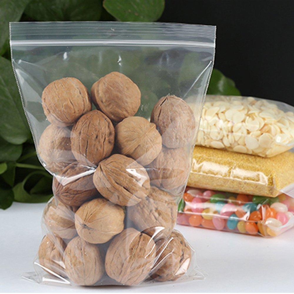 MZTD 100 16*20cm Bolsas de Pl/ástico Transparente Zip con Cierre Bolsas de Resellables para Alimentos Galletas Caramelos Bombones
