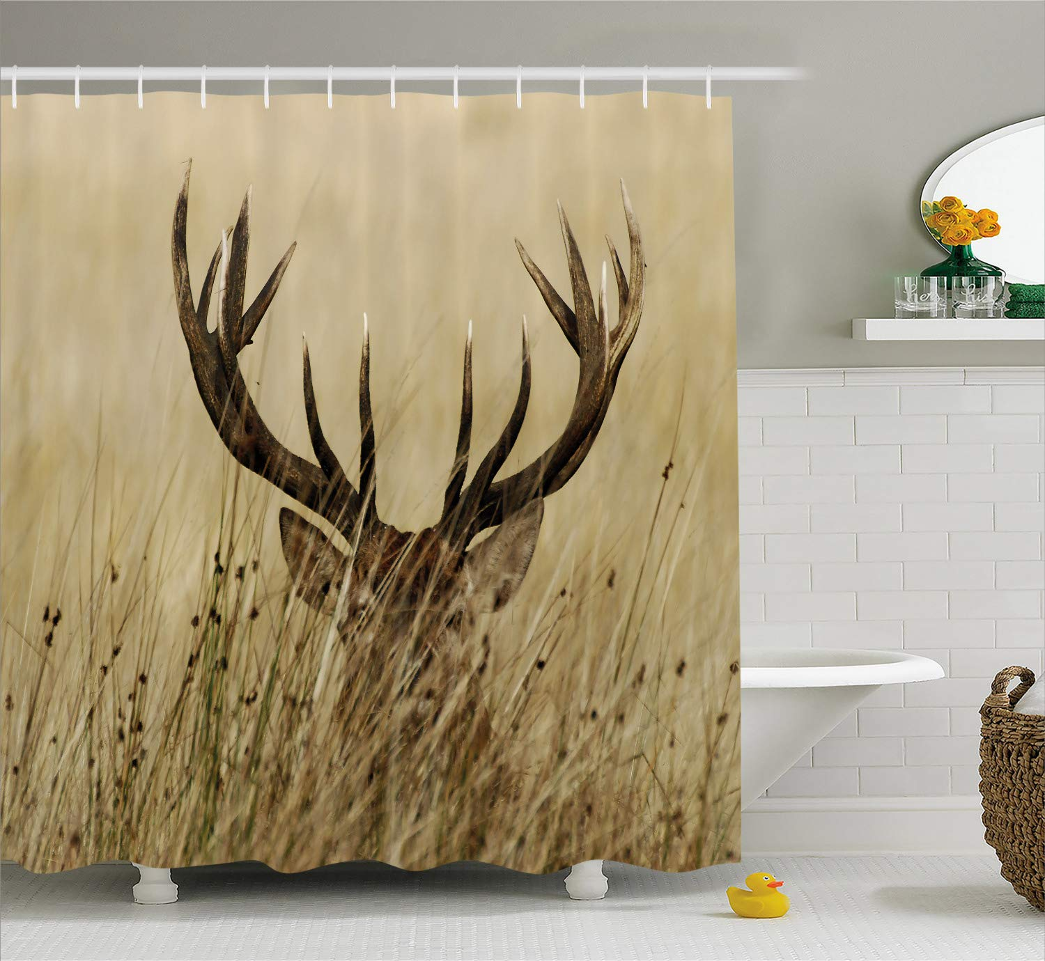 . Ambesonne Antler Decor Shower Curtain by  Whitetail Deer Fawn in Wilderness  Stag Countryside Rural Hunting Theme  Fabric Bathroom Decor Set with