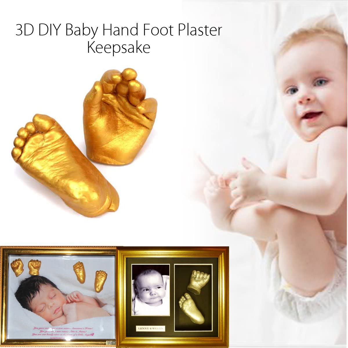 YeahiBaby Baby Hand and Footprint Casting Kit 3D Plaster Mold Golden