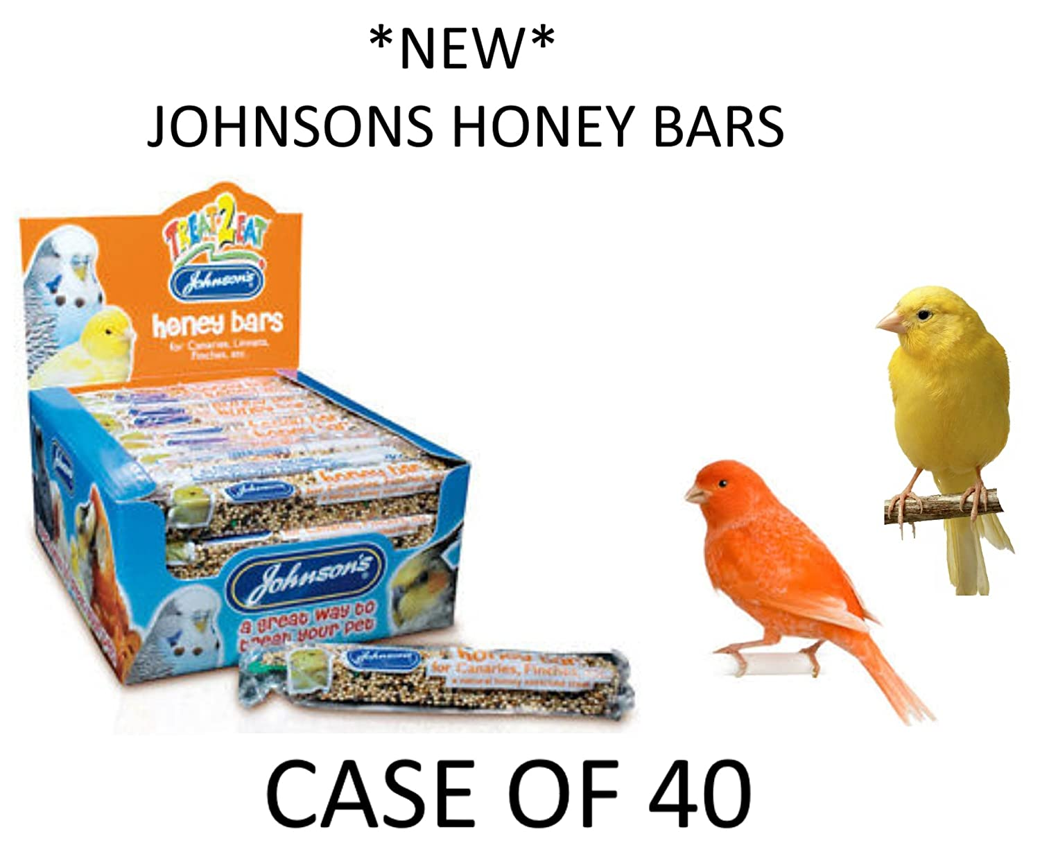 *NEW* JOHNSONS 35G HANGING HONEY SEED TREAT BARS FOR CANARIES & FINCHES CASE OF 40