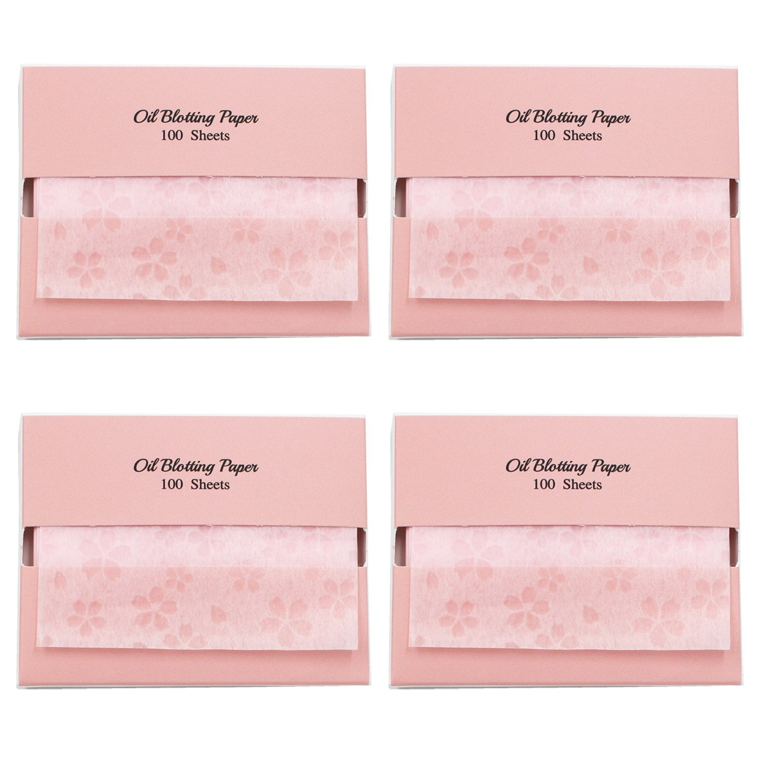 [200 Counts + Mirror Case] Cherry Blossom Face Oil Blotting Paper Sheets with Makeup Mirror - Oil Absorbing Sheets made in Japan Blue & Pink