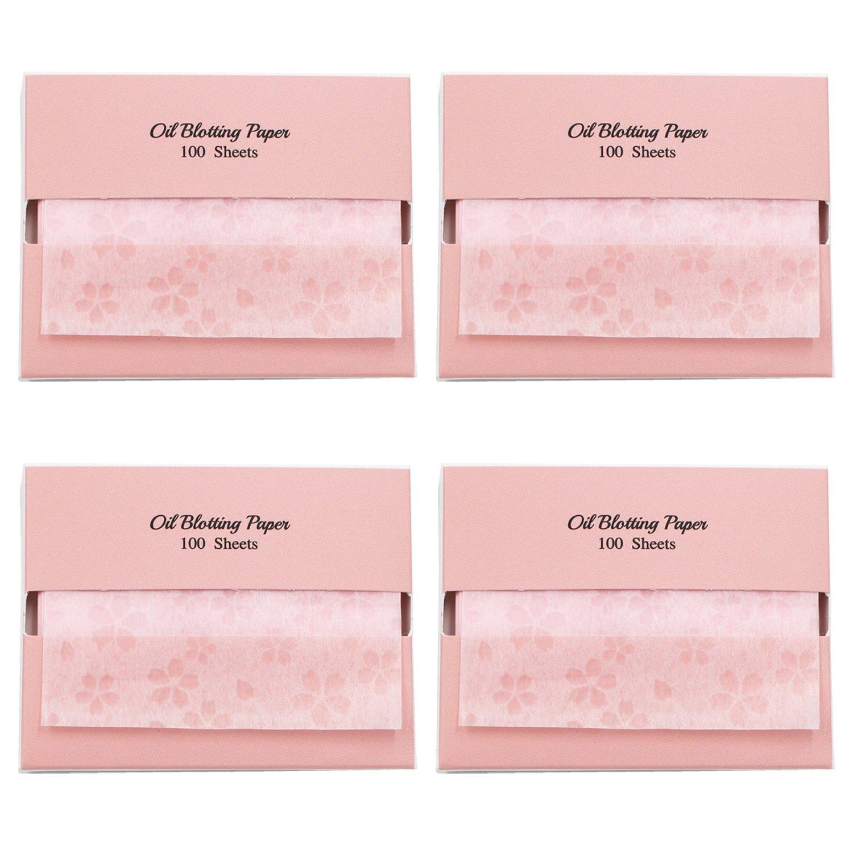 Kirschblüten Face Oil Blotting Paper Sheets mit Schminkspiegel - Ölabsorbierende Blätter aus Japan (400 Count, Cherry Blossom) Blue & Pink