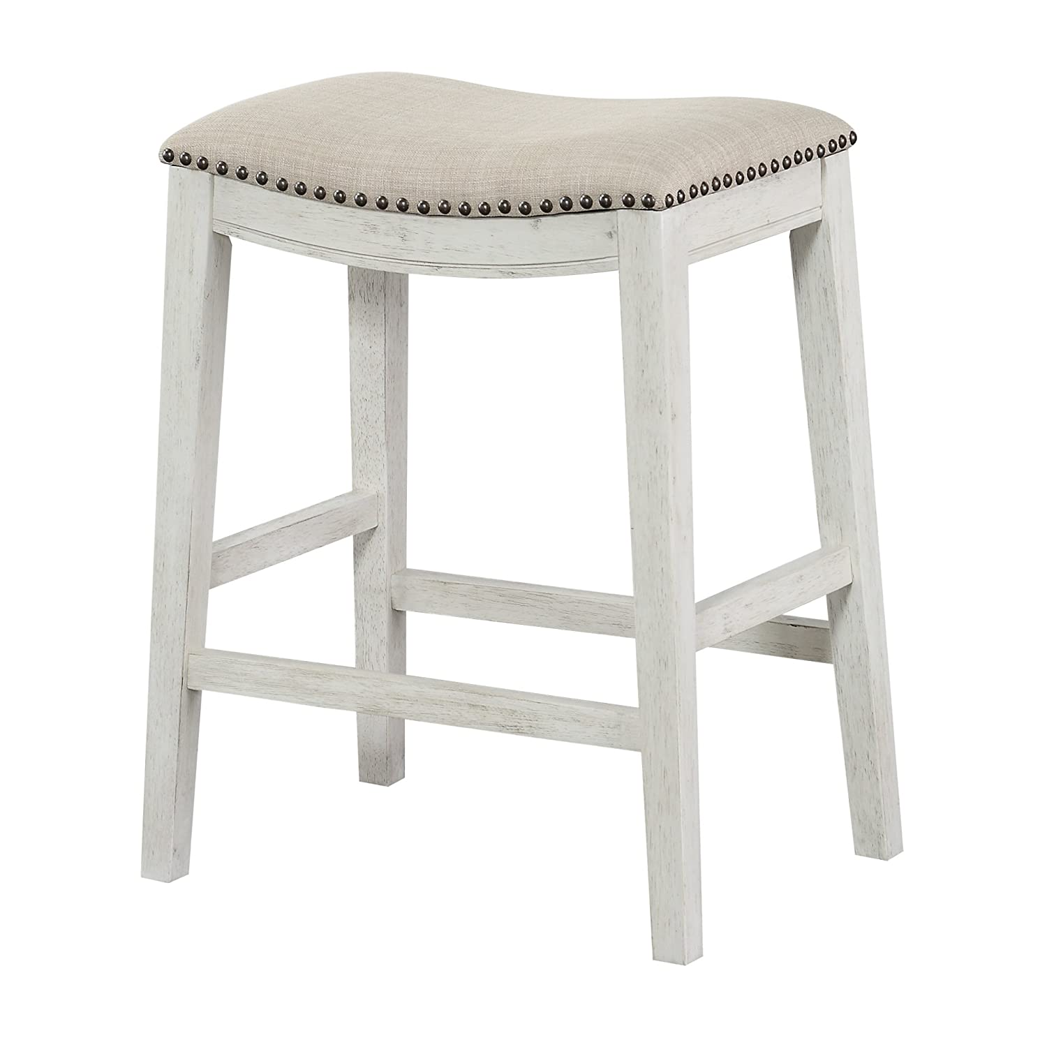 Office Star Saddle Stool with Antique White Base 24 Inch Beige Fabric