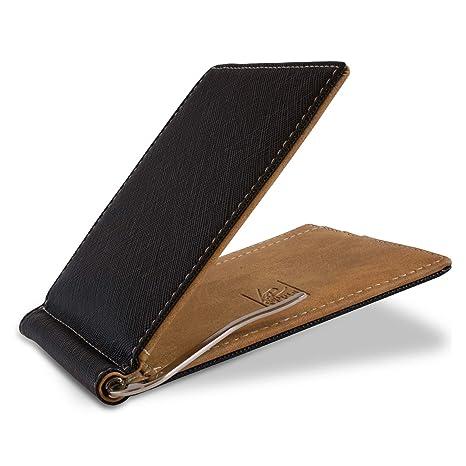 Cartera con Pinza para Billetes Welford - Estuche pequeño con protección RFID para Hombre – Monedero/Billetero Minimalista Incl. Caja de Regalo - ...