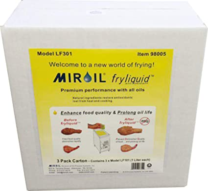 Amazon.com: Miroil FryLiquid LF301 | 3 x 1 Litre Bottles | Antioxidant for Fry Oil | Prevent Oil Breakdown | Fry Healthier | Vitamin Therapy for Deep Fryer ...