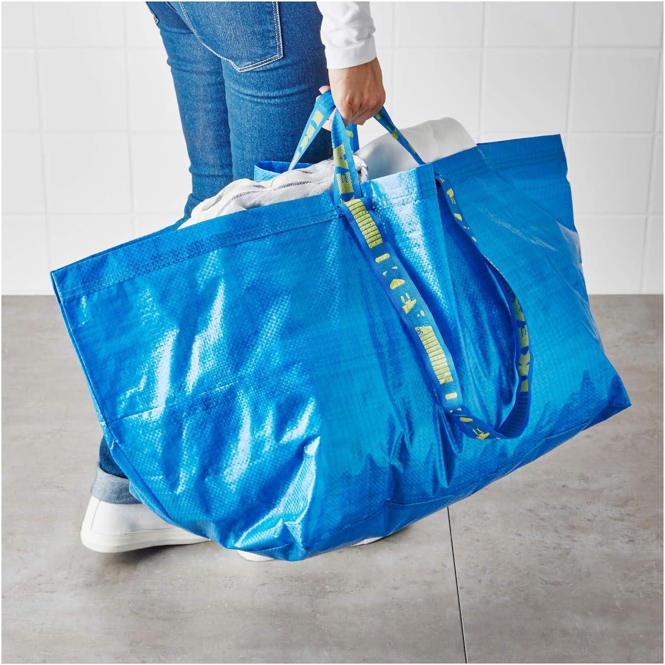 Ikea bolsa grande Ideal para la compra para la ropa sucia y sus posibilidades de almacenamiento juego de 2 Frakta azul