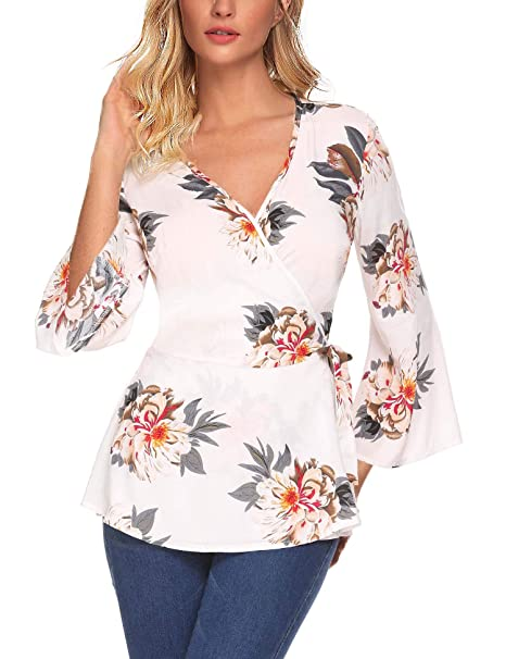 e23ea73a2db8 Showyoo Women s V-Neck Bell Sleeve Blouse Floral Print Wrap Front Top  Shirts at Amazon Women s Clothing store