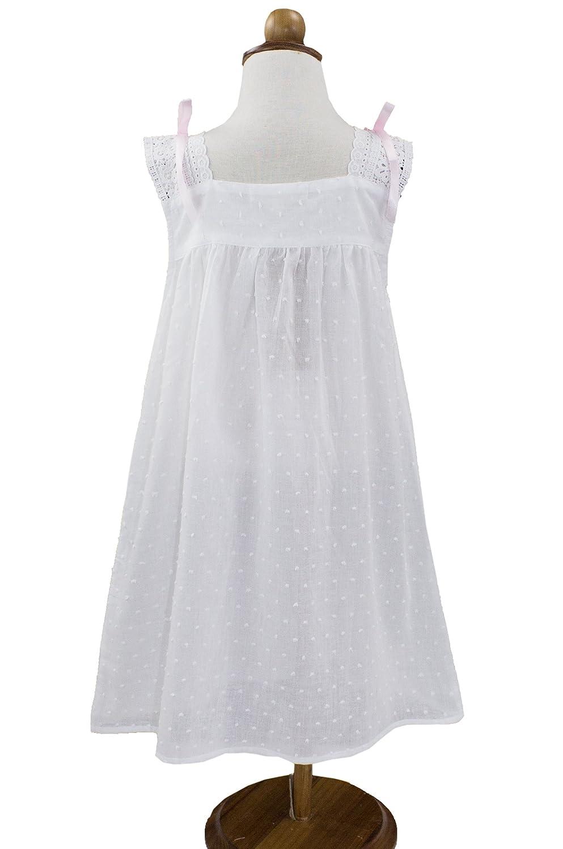 2bf83892 Amazon.com: StylesILove Handmade Girls' Embroidered Lace Cotton Night Dress  White - Age 2-12 (Pink Ribbon Sleeveless, 10-12 Years): Clothing