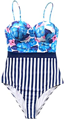 8f57b825ffb CUPSHE Women's Vivid Floral and Stripe One Piece Swimsuit