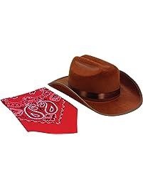Aeromax CBBR-HAT Junior Cowboy Hat with Bandanna, Brown