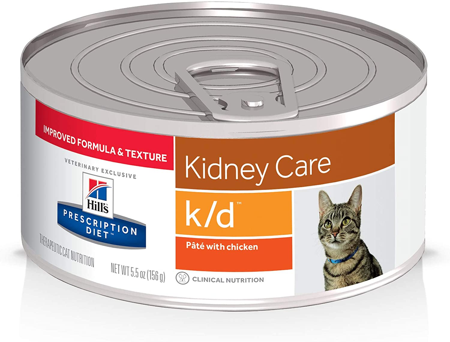 Hill's Prescription Diet k/d Kidney Care with Chicken Wet Cat Food, Renal Food, 5.5 oz. Cans, 24 Pack