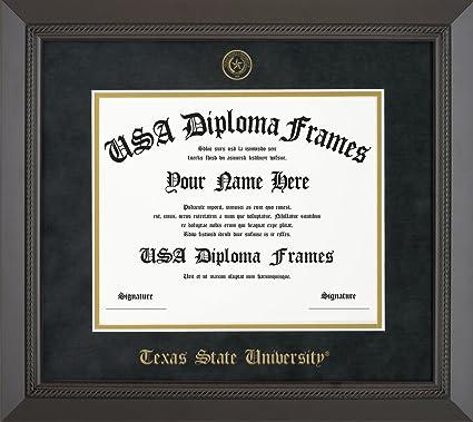 Amazon.com - Texas State University Diploma Frame - Black Rope Frame ...