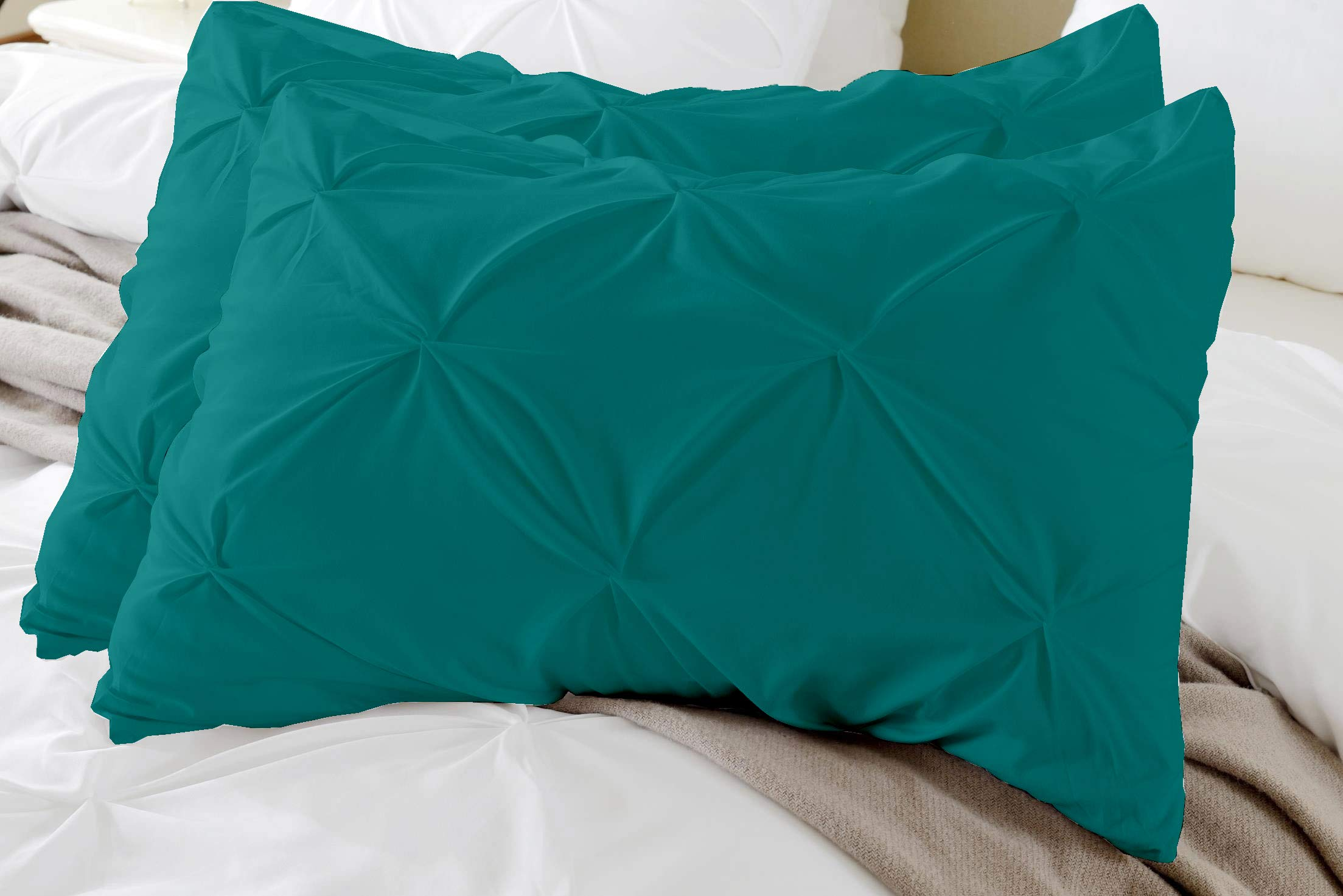 Kotton Culture Set of 2 Pillow Shams Pinch Pleated Set 100% Egyptian Cotton 600 Thread Count Premium Hotel Quality Bedding (Standard Size (20''X26''), Teal) by Kotton Culture