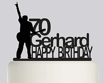 Decoración para tarta de cumpleaños - Guitarra eléctrica para tartas - Decoración personalizada para tarta - Feliz cumpleaños - personalizado con su nombre: ...