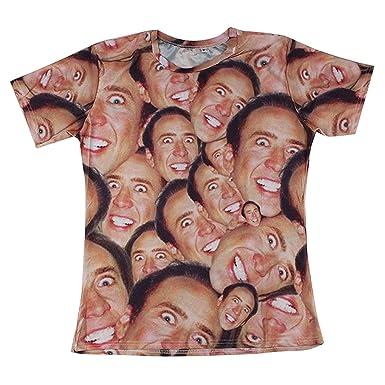 3af08c1721454 7eaven Shop 3D Print Laugh Nicolas Cage Face T-shirt with Hip Hop Sleeves