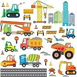 Decowall DW-1612 Bau Baustelle Transporte Autos Fahrzeuge Wandtattoo Wandsticker Wandaufkleber Wanddeko für Wohnzimmer Schlafzimmer Kinderzimmer