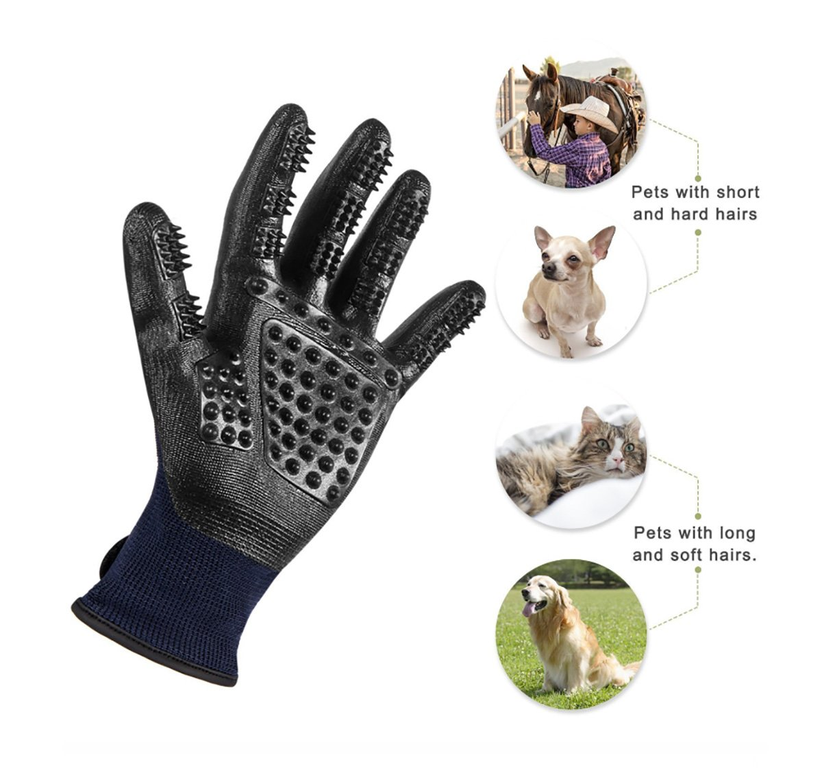 Trendcode Pet Deshedding Gloves - Efficient Pet Hair Remover, Grooming Mitt Brush Tool - Good Dogs Cats Horses Bathe Wash by Trendcode (Image #2)