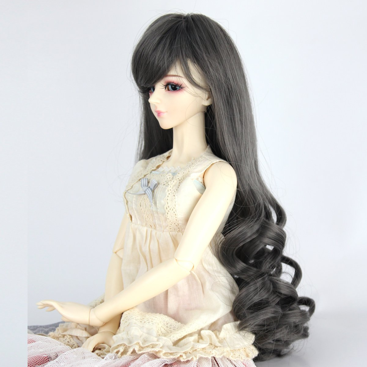 Miss U Hair 9-10 Inch 1//3 BJD MSD DOD Pullip Dollfie Doll Wig Long Curly Hair Not for Human White