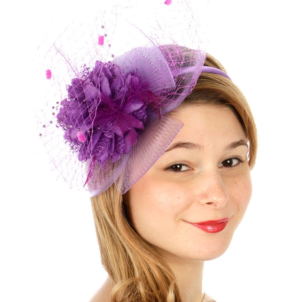 SERENITA Fascinator for Women, with Lace Flower Dress Hat, Wedding & Party by SERENITA (Image #2)