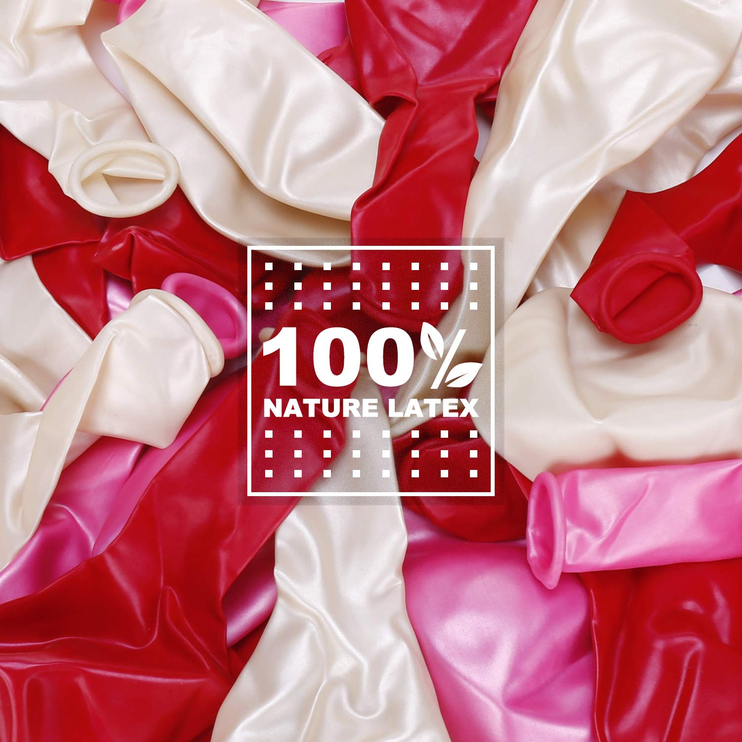 Elegear Birthday Balloons 100 Pcs, 12 Inches Assorted Bright Color Latex Balloons for Wedding, Anniversary, Graduation and Party (Red, White, Pink)
