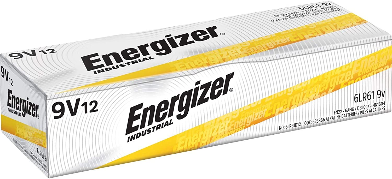Energizer Industrial 9 Volt Batteries, Alkaline 9v Battery (12 Count): Health & Personal Care