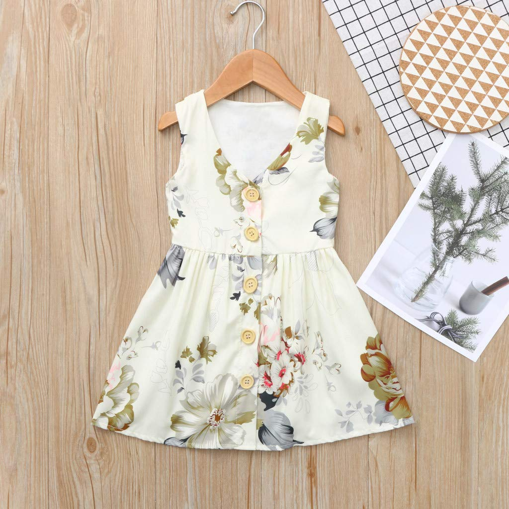 Newmao Toddler Baby Girl Summer Princess Sleeveless Floral Dress Colthes