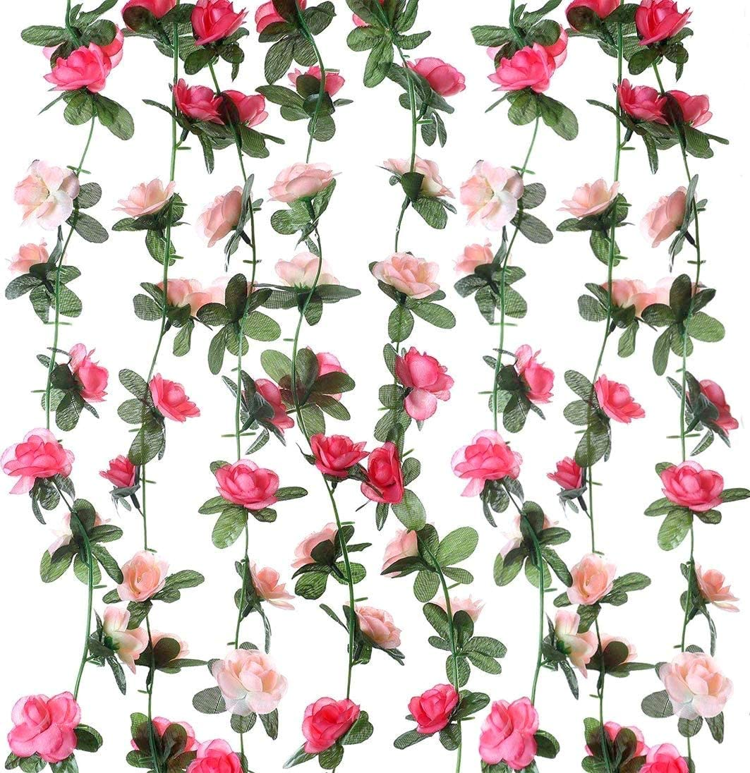 Miracliy 20 PCS Artificial Flower Garland,Fake Pink Hanging Rose Flower Vines for Wedding Home Party Birthday Decor