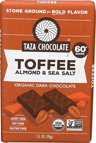 Taza Chocolate Toffee, Almond and Sea Salt, 2.5 Ounce
