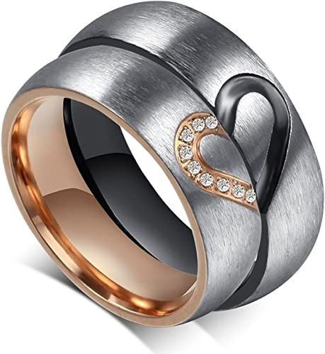 Amazing Frosted Style Titanium Stainless Steel Wedding Band Set Anniversary Engagement Promise Ring