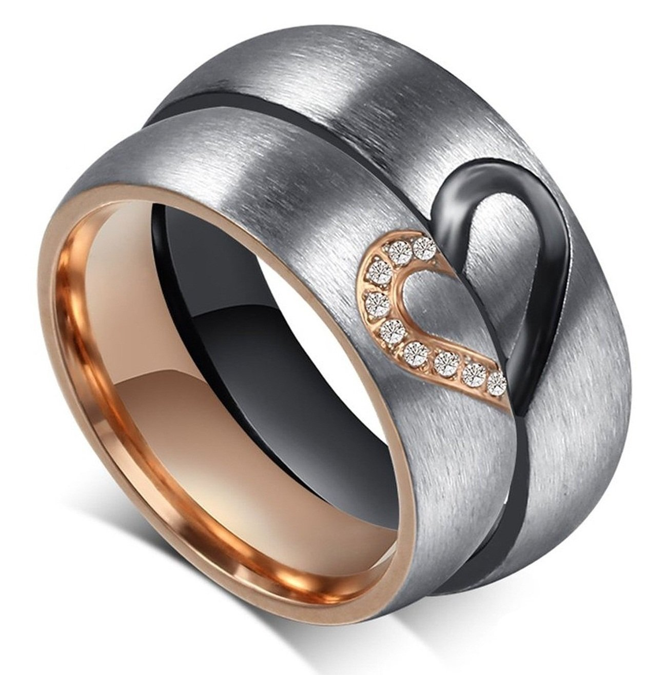 Global Jewelry Amazing Titanium Stainless Steel We Love Each Other Wedding Band Set Anniversary/Engagement/Promise/Couple Ring Best Gift! GJ-46688