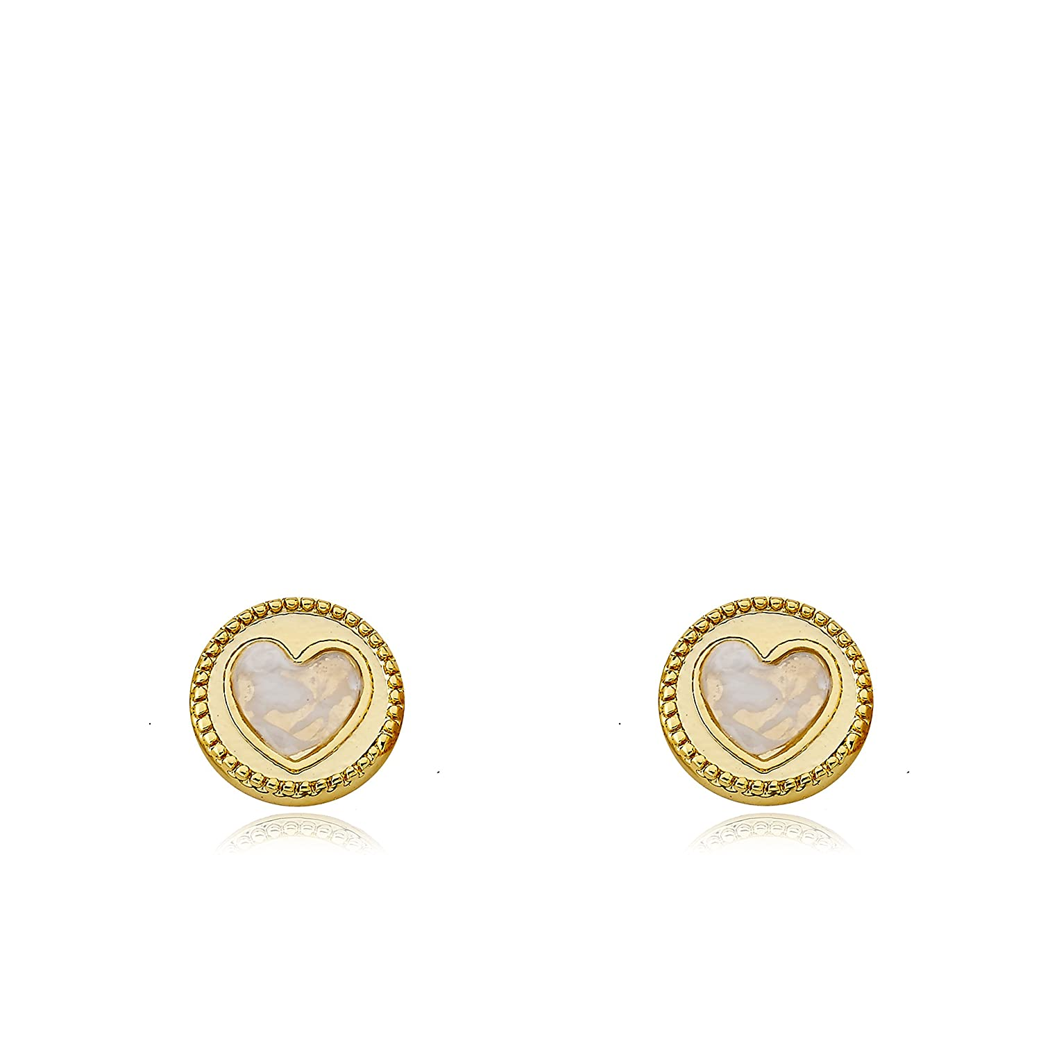 LMTS Little Miss Flower Girl 14K Gold Plated Heart Cut Out Over Mother of Pearl Stud Earring