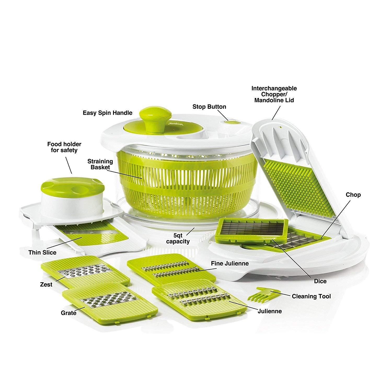 Set mandolina e centrifuga per insalata tagliaverdure con 7/lame intercambiabili in acciaio INOX incluso pelaverdure da dito ed eBook