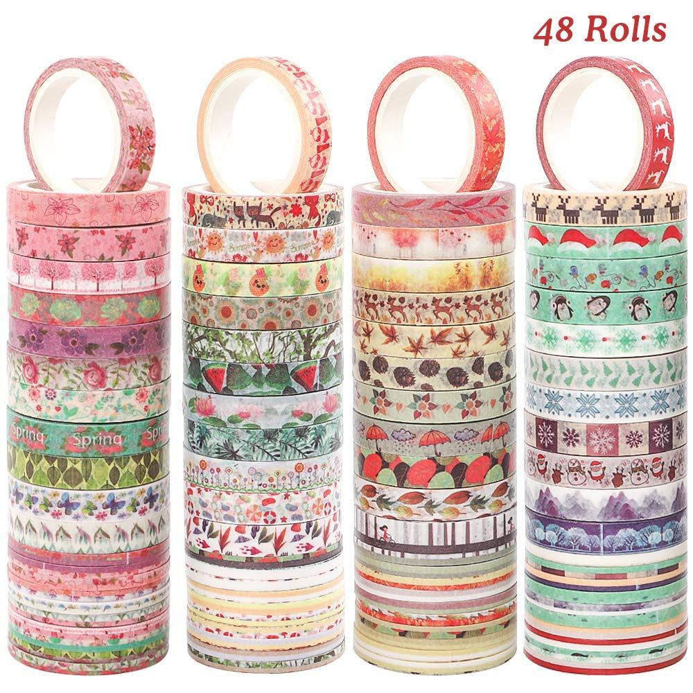 48 Cintas de papel con pegamento - 8mm ancho x 5m largo